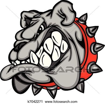 Clipart of Bulldog Mascot Cartoon Face k7042271 - Search ...
