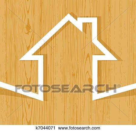 剪贴画 木制的房屋, 概念