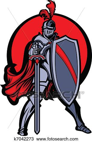 clipart of knight mascot with sword and shield k7042273 search rh fotosearch com free knight clipart free knight clipart