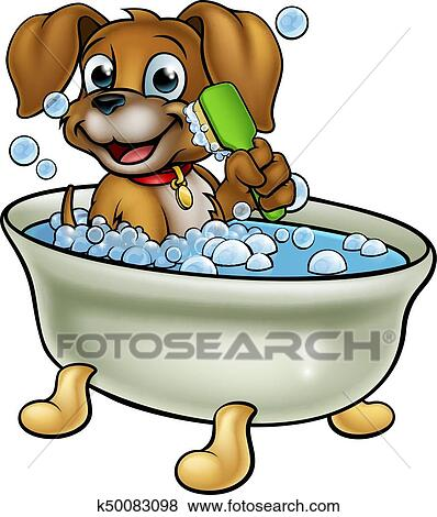 clip art of cartoon dog in the bath k50083098 search clipart rh fotosearch com bath clipart png have bath clipart