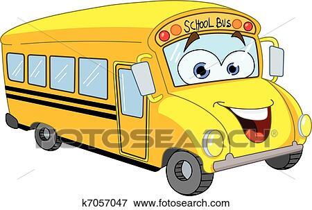 clip art of cartoon school bus k7057047 search clipart rh fotosearch com School Transportation Clip Art Funny School Bus Clip Art
