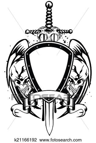 Clipart of skulls sword frame k21166192 - Search Clip Art ...