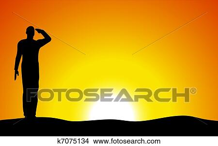drawing silhouette of an army soldier saluting on hills against sunset fotosearch search