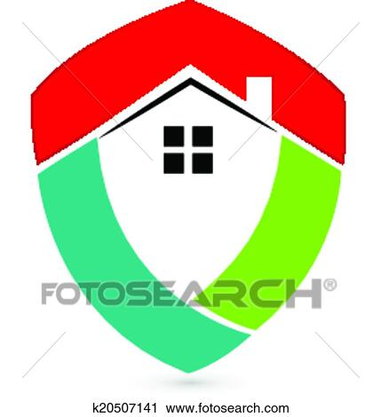 clipart of shield house real estate logo k20507141 search clip art rh fotosearch com clip art shield and sword clip art shield shapes