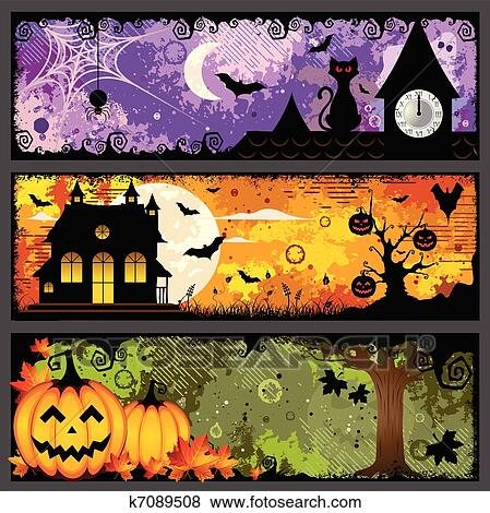 Clip Art Of Halloween Banners K7089508 Search Clipart