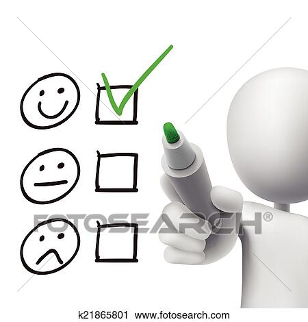 Clipart of customer service questionnaire drawn by 3d man ...
