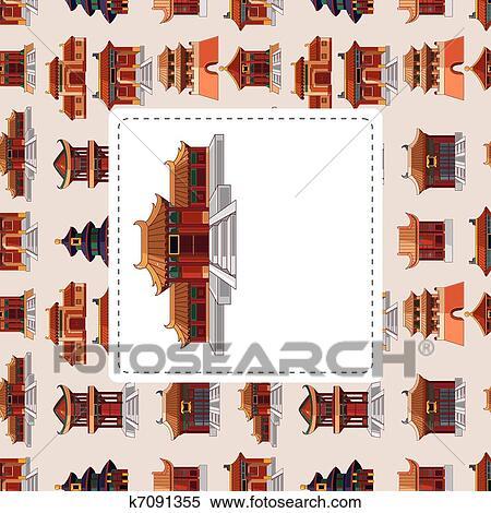 Clipart cartone animato cinese casa seamless pattern for Casa tradizionale cinese