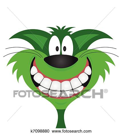 Clipart sorridere felice gatto verde k7098880 cerca for Gatto clipart