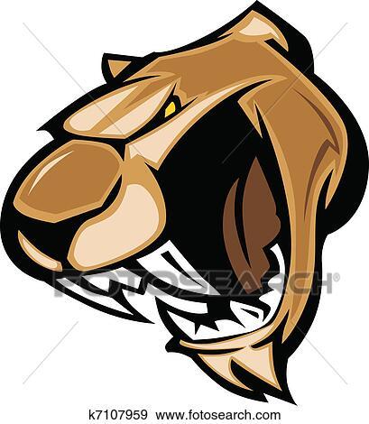 clip art of cougar mascot head graphic k7107959 search clipart rh fotosearch com  free cougar mascot clipart