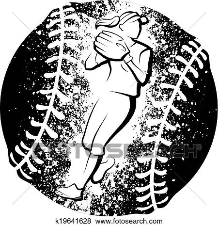 Clip Art of Softball Player Throwing Grunge k19641628 - Search ...
