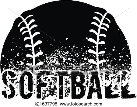 Clip Art of Softball Grunge k21637798 - Search Clipart ...