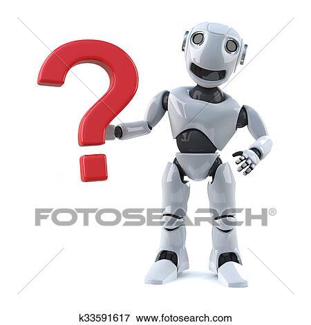3d, render, 在中, a, 機器人, 帶, a, 問號, 符號.圖片