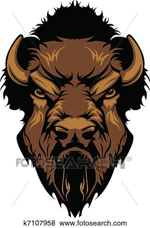Clip Art of Buffalo Bison Mascot Head Graphic k7107958 - Search ...