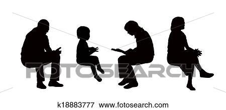 Banque d 39 illustrations gens assis ext rieur - Dessin bonhomme assis ...