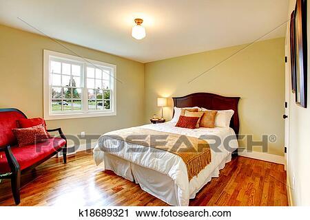 Arkivfotografi - cozy, varm, farger, soverom, med, fransk vindu ...