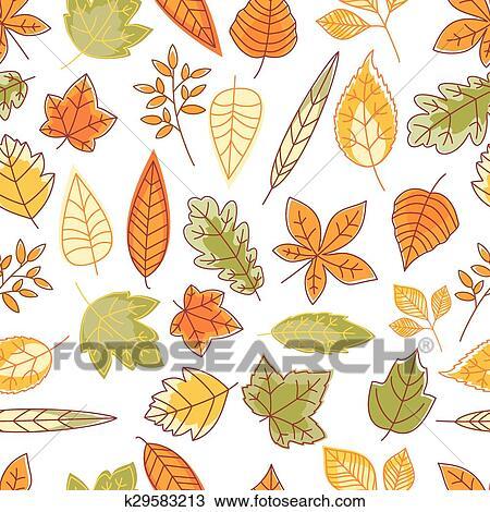 剪贴画 - seamless, 模式, 带, 秋季树叶图片