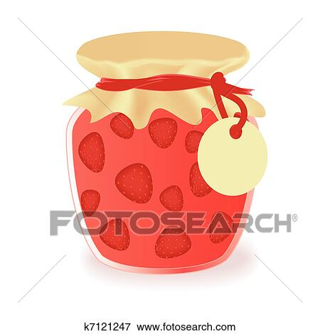 clip art of vector jar of strawberry jam k7121247 search