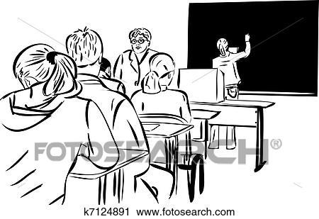 Clipart In Il Classe E Il Ragazze A Il Lavagna