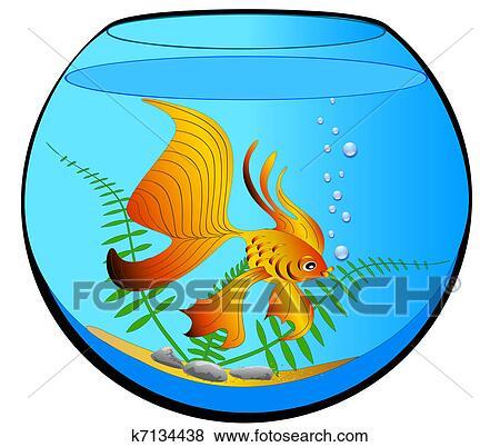 clip art of aquarium with gold fish and algae k7134438 search rh fotosearch com clipart aquarium aquarium images clipart