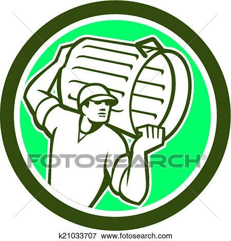 Clip Art Of Garbage Collector Carrying Bin Circle Retro K21033707