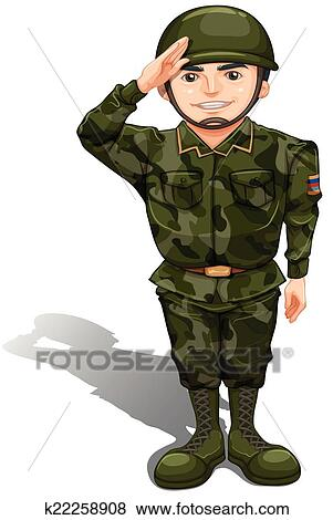 Clip Art of A smiling soldier doing a hand salute ...