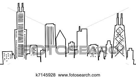 Chicago Skyline Drawings Cartoon Chicago Skyline