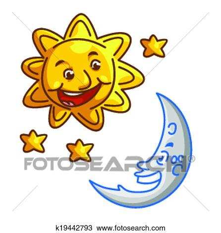 clipart of sun and moon k19442793 search clip art illustration rh fotosearch com sun and moon clip art images sun and moon clipart black and white