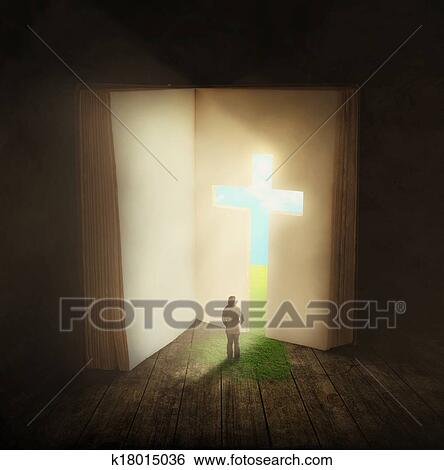 Stock Image - Woman walking through a Bible door. Fotosearch - Search Stock Photography & Stock Images of Woman walking through a Bible door k18015036 ...