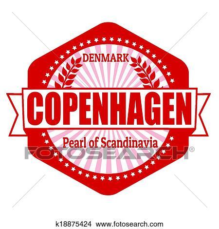 Clipart of Copenhagen capital of Denmark label or stamp k18875424 ...