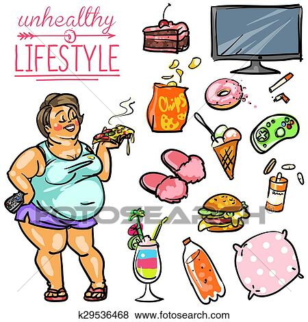 Man Figure Fat Unhealthy Lifestyle Vector Infographic ... |Unhealthy Lifestyle Icon