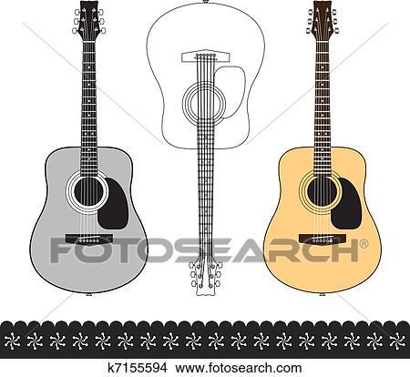Clipart of acoustic guitar design set k7155594 - Search ...