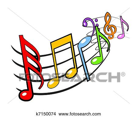 drawings of music notes k7150074 search clip art illustrations rh fotosearch com Vector Colorful Music Notes Music Notes Vector Art Free