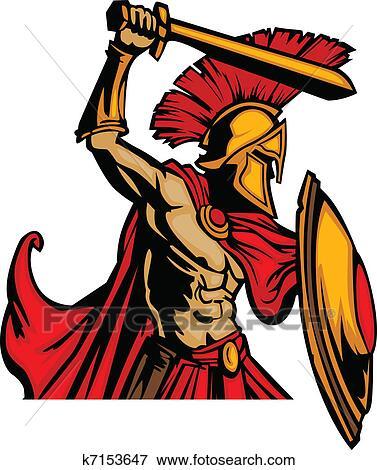 clip art of trojan mascot body with sword and s k7153647 search rh fotosearch com trojan football clipart trojan clipart logo