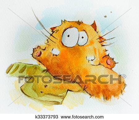 手绘图 - 有趣, 懒惰, 猫图片