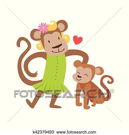 剪贴画 - 猴子, 妈妈, 在中, 衣服, 动物, 父母, 同时,, 它, 婴儿图片