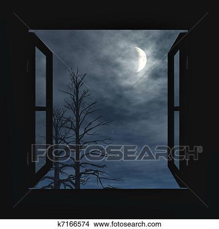 Offenes fenster himmel  Zeichnungen - fenster, offenes, to, dass, nacht k7166574 - Suche ...