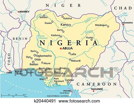 Clipart Of Nigeria Political Map K Search Clip Art - abuja map