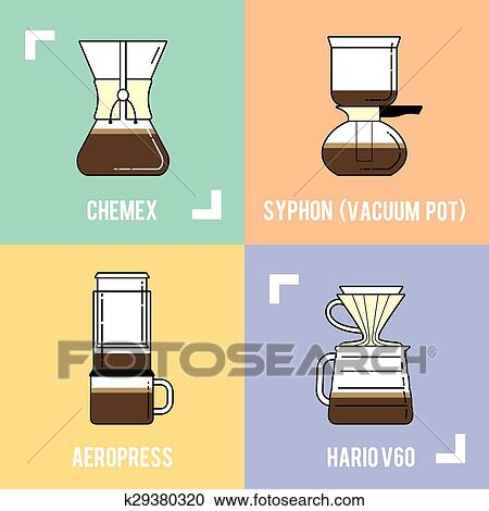Clipart of Trendy coffee brewing methods. Different ways ...
