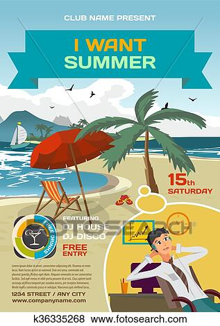 Clip art of vector summer party invitation lounge dreaming office clip art of vector summer party invitation lounge dreaming office worker umbrella palm tree and lounge on a beach in summer to posters invitations or stopboris Gallery