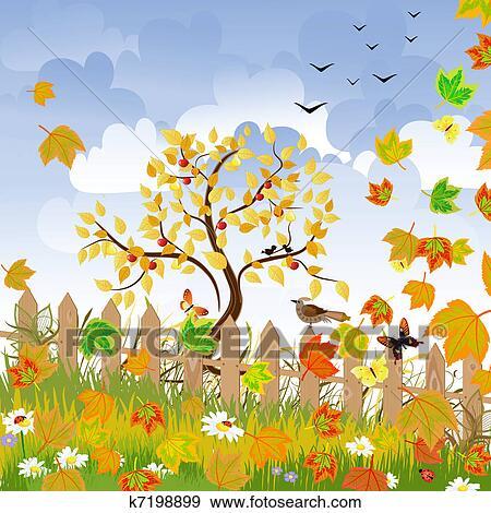 剪贴画 - 秋天风景, 带