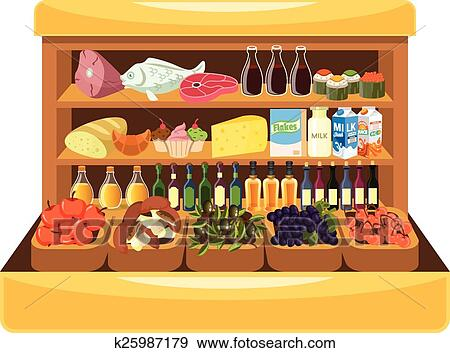 Clip Art of Supermarket shelf with food k25987179 - Search ...