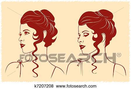 Clipart visage femme profil silhouette k7207208 recherchez des cliparts des illustrations - Visage profil dessin ...