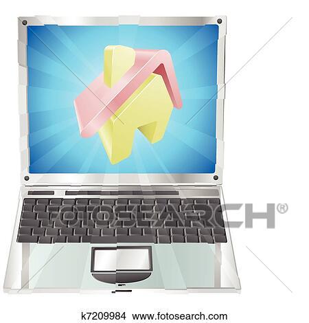 手绘图 - 家, 图标, 笔记本电脑