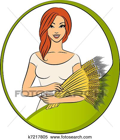Stock Illustration of Beautiful girl with sheaf of wheat k7217805 ...