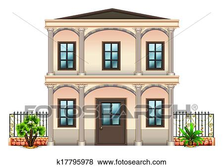 Clip Art Of A Two Story Single Detached Building K17795978