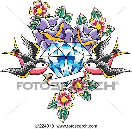 clip art of bird and diamond flower tattoo k7224978