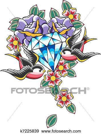 stock illustration of bird and diamond flower tattoo