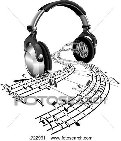 Clipart - écouteurs, partition, notes, concept k7229611 ...