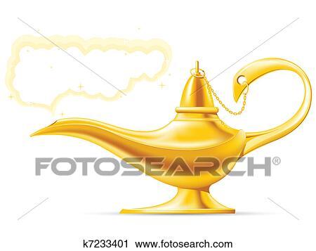 Golden Aladdinu0027s Magic Lamp With Cloud