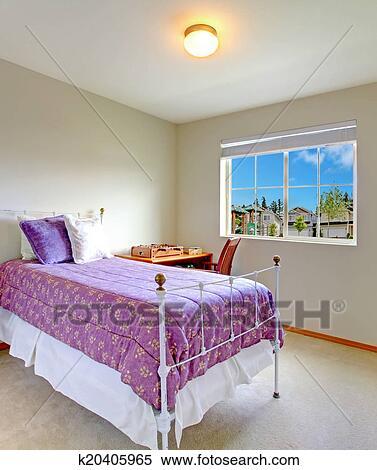 Stockmotiv   lille, soveværelse, hos, antik, seng k20405965   søg ...